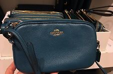 NWT Coach Pebble Leather Crossbody Clutch Pouch Bag  F65988- Atlantic
