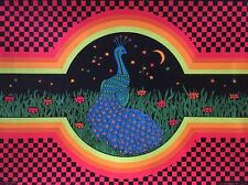 Vintage Black Light Poster Optical Garden Pin-up Peacock 1970 Psychedelic Oki