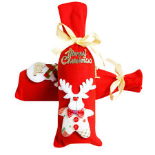 Red Wine Bottle Cover Bags Decoration Home Party Santa Claus Christmas