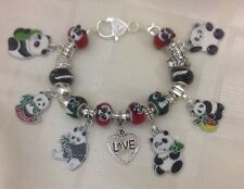 *Handmade Red Black & Green Luxury Chunky PANDA Murano Glass Bead Charm Bracelet