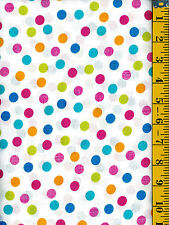 Pastel Large Polka Dots on White cotton quilt fabric Timeless Treasures  BTY
