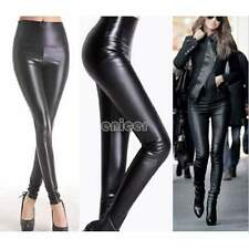 ♥♥ Mujeres Wet Look Faux Leggings cuero Sexy Stretch Pantalones pitillo Jeggings