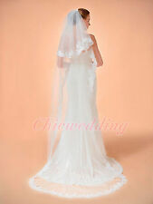 "2T 98"" Ivory Veil Wedding Bride Chapel Length Beaded Lace Edge Veil With Comb"
