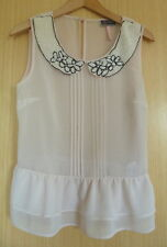 Lipsy Ladies Blouse Top Size 10 Pink Nude Chiffon Beaded Summer Smart Pearls hl