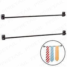 2 x BLACK TIE RAIL HANGER Scarf/Belt Holder Wardrobe/Cupboard Door Storage Rack
