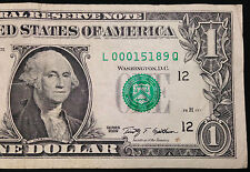 2009 $1 One Dollar Bill with low Serial Number 00015189, US Currency, FRB L
