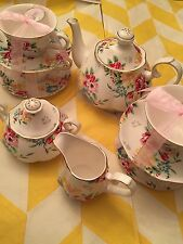 Grace's Teaware Tea Set  8 Pieces Withe&Flowers ,Gold Trim- New ,Free Shipping