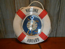 Vintage Welcome Aboard Life Preserver Nautical Maritime Clock