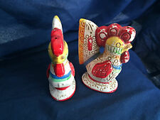 Vintage Salt & Pepper Shakers LEGO Art Deco Rooster Chicken Hen Japan Painted
