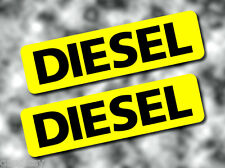 2x DIESEL Fuel Reminder Vinyl Stickers BLACK on YELLOW 80mm Car/Van/Tax/Camper