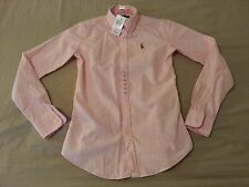 Womens New Polo Ralph Lauren Dress Shirt 0 Slim Pink Stripes Cotton Blouse