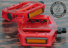 "Red Clear Iped Platform Bike Pedals 9/16"" BMX MTB Cruiser Fixie Track Bicycle"