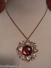 "Stephen Dweck Bronze Flower with Amber Pendant on Bronze 16""  Necklace New"