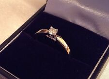 Lovely Ladies 9ct Yellow Gold Natural Diamond Engagement Ring. Size P 1/2
