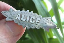 Broche Vintage nombre de plata esterlina Eduardiano-Birmingham 1909-Alice