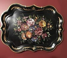 HUGE NASHCO HAND PAINTED FLOWERS TOLE TRAY