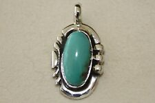 Signed Navajo Made Sterling Silver Green Turquoise Pendant