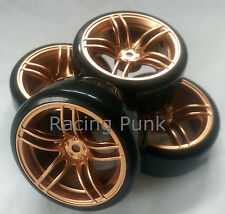 RC Car 1/10 EP 26mm 3mm OFFSET Wheel Rim DRIFT Tyre Tire 5 Spoke BRONZE 12mm Hex