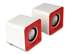 Desktop 2x3W Stereo Speaker Red PC Computer Portable Laptop USB Mini