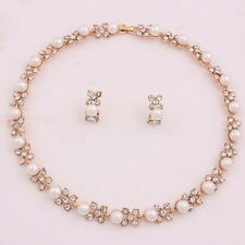 New Pearl Necklace Set Wedding Bridesmaid Swarovski Element Crystal Jewelry Sets