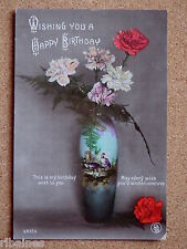 R&L Postcard: Happy Birthday, Antique Vase, Flowers and Ferns