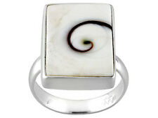 Artisan Gem Collection Of India, Emerald Cut Wht Shiva Shell Sterling Ring