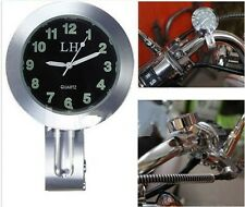 "Handlebar Chrome Quartz Watch Clock 1"" o 7/8"" Universal Harley Honda Suzuki"