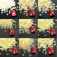 New 100Pcs 3D Metal DIY Tips Stickers Decal Golden Nail Art Slices Decoration