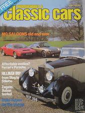 Classic Cars 06/1982 featuring Aston Martin, Ferrari, Porsche, Rolls Royce, MG
