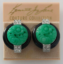 KENNETH JAY LANE Deco Simulated Carved Jade Black Base Crystal Clip On Earrings