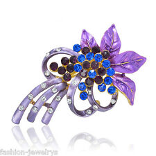 New Vintage Gorgeous Purple Flower Brooch Pin Rhinestone Crystal Charm Jewelry