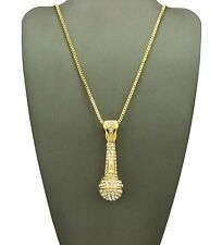 "New Iced Out MIC Microphone Pendant & 24"" Box Chain Hip Hop Necklace - XZP136BXG"