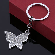 Metal Butterfly Crystal Keyring Pendant Purse Bag Charm Keychain Gift New