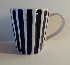 Starbucks Coffee Mug 2008 Blue White Striped Collectors Fluted Ribbed 12 oz
