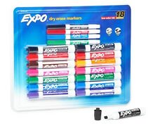 Whiteboard Markers 18 EXPO Dry Erase White Board Markers Colour Chisel Fine Tip