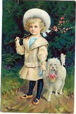 Kind mit Hund, Künstler-AK, sign. Reckziegel, 1904