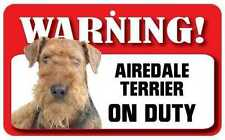 Airedale Terrier Sign - Laminated Card -  Beware Of Dog 20cm x 12cm