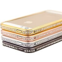Bling Diamond Crystal Aluminium Metal Bumper Case cover For iPhone 4S 5 5S WST