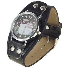 Reloj HELLO KITTY  watch negro con remaches  A1108