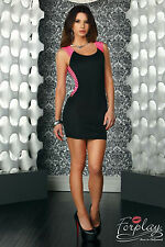 SEXY MINI ABITO STRETCH VESTITO TRAFORATO NERO ROSA CUT-OUTS MINI DRESS FORPLAY