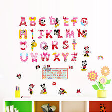 Mickey Mouse Alphabet Removable Wall Sticker PVC Decals Cartoon Mural Kids Room