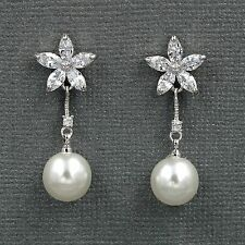 White Gold Plated Cubic Zirconia Pearl Wedding Bridal Drop Dangle earrings 0659