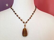 100% AUTHENTIC OLIVIA WELLES Glass Beads Amber Drop Pendant  NECKLACE NEW