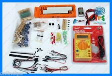 16Item Electronics Starter Kit Multimeter,Breadboard,Transistor,Capacitor
