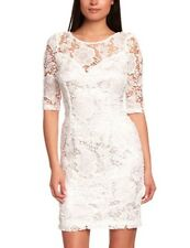 LIPSY ivory cream floral guipure lace bodycon shift mini pencil dress size 10