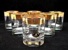 SET of 6 Italian Crystal Scotch Whiskey Rocks Glasses, 24K Gold Greek Key, 9 Oz.