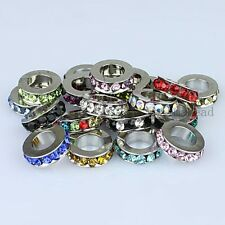 Wholesale Crystal Silver Spacer Charm Big Hole Loose Beads For Bracelet Findings
