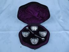 Victorian Cased Set 4 HM Silver Salts - Sheffield 1883 - Atkin Bros - sterling