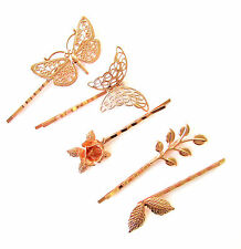 5 x Rose Gold Hair Grip Set Clip Leaf Butterfly Dragonfly Bobby Pins Bridal 1179