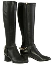 """NEW GUCCI CURRENT BLACK LEATHER SOHO LOGO 2.75"""" HEELS  KNEE BOOTS SHOES 36/US 6"""